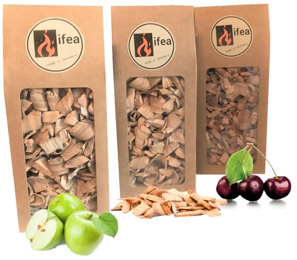 Räucherchips Set Buche, Kirsche & Apfel - Premium 3x0,7 l